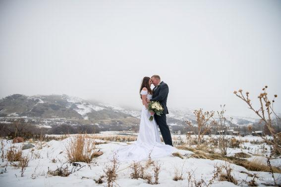 Snowy winter wedding formal
