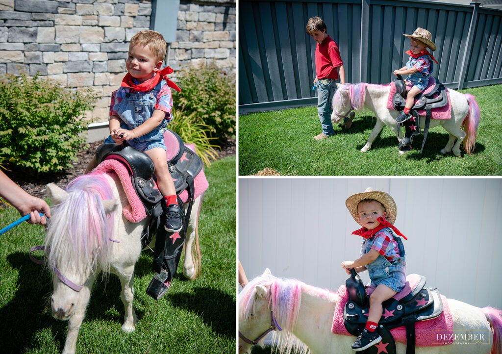 Birthday boy enjoys pony ride