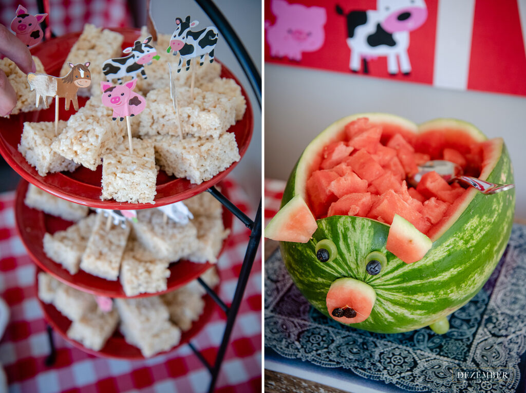 Rice krispy treats and pig shaped watermelon