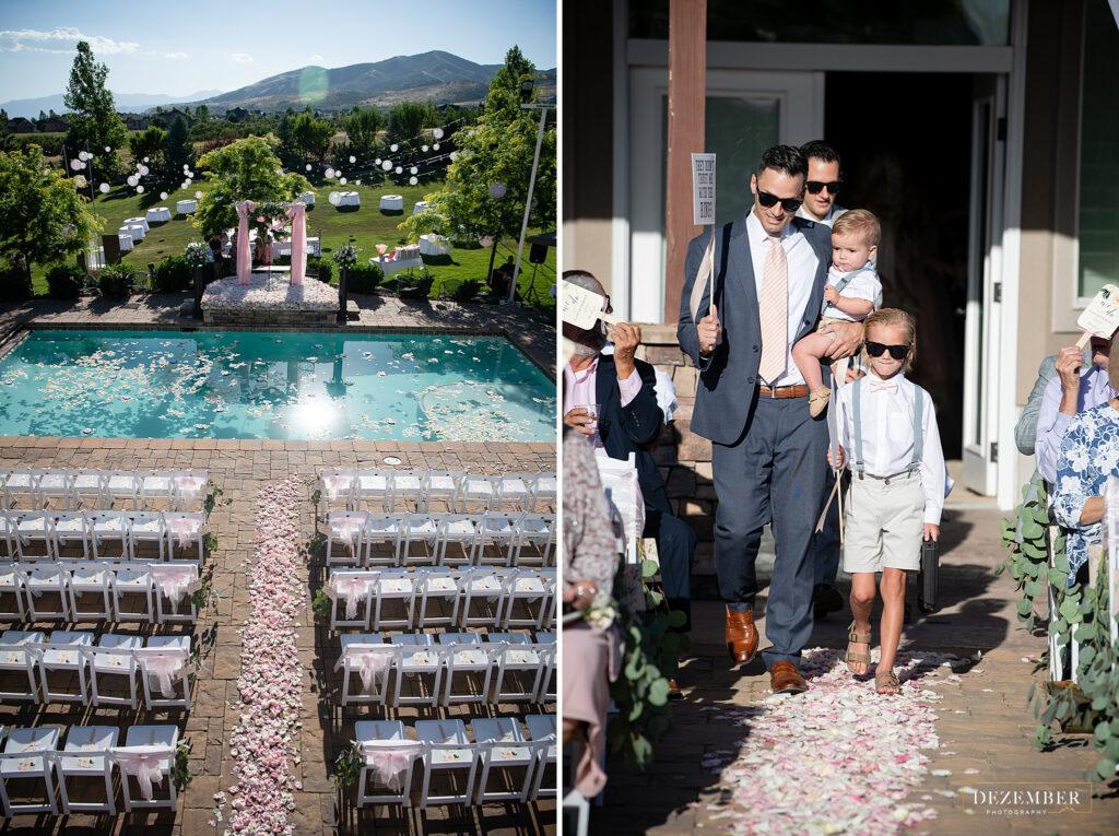 Elegant Backyard wedding ceremony across the pool with floating flowers