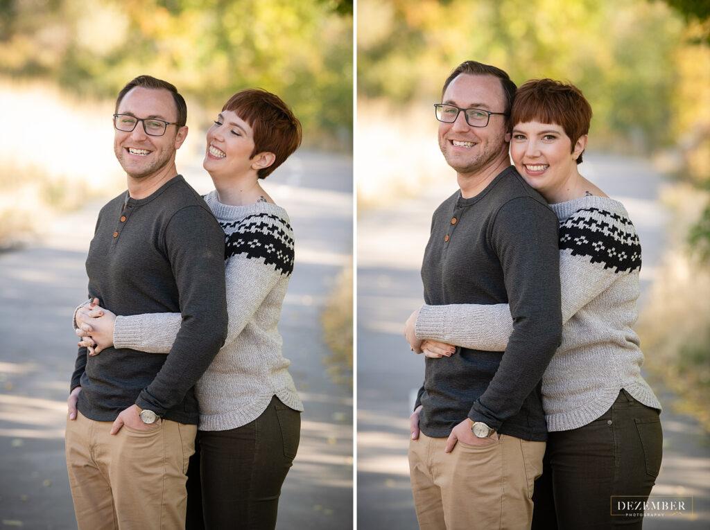 Woman hugs her fiance in park