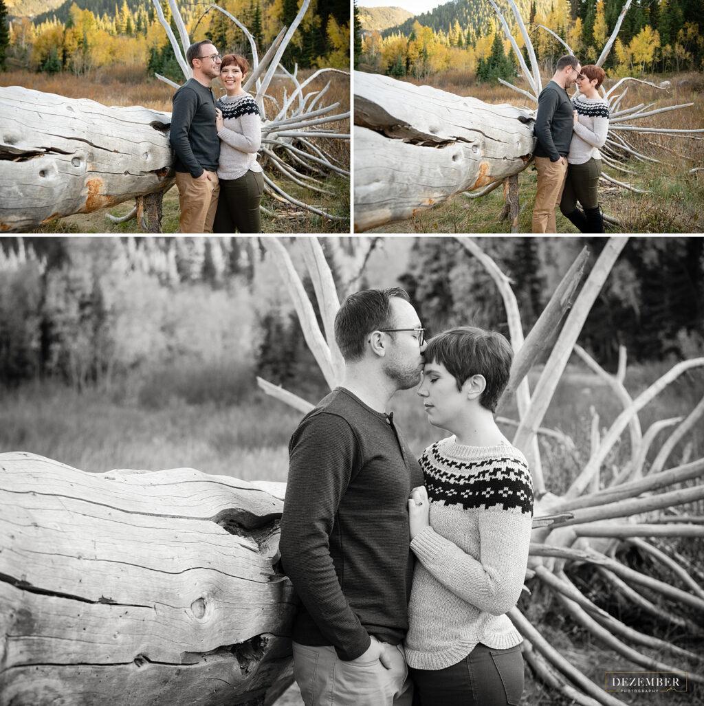 Man kisses fiance on forehead near fallen tree