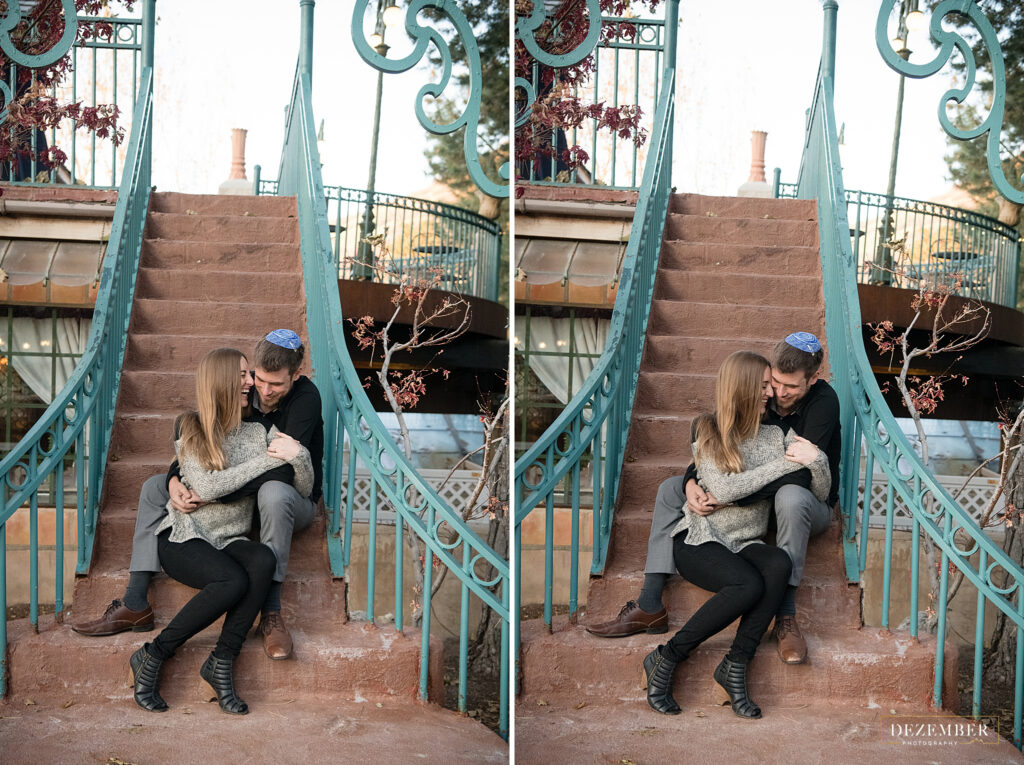 Couple sits on outdoor stairway at La Caille