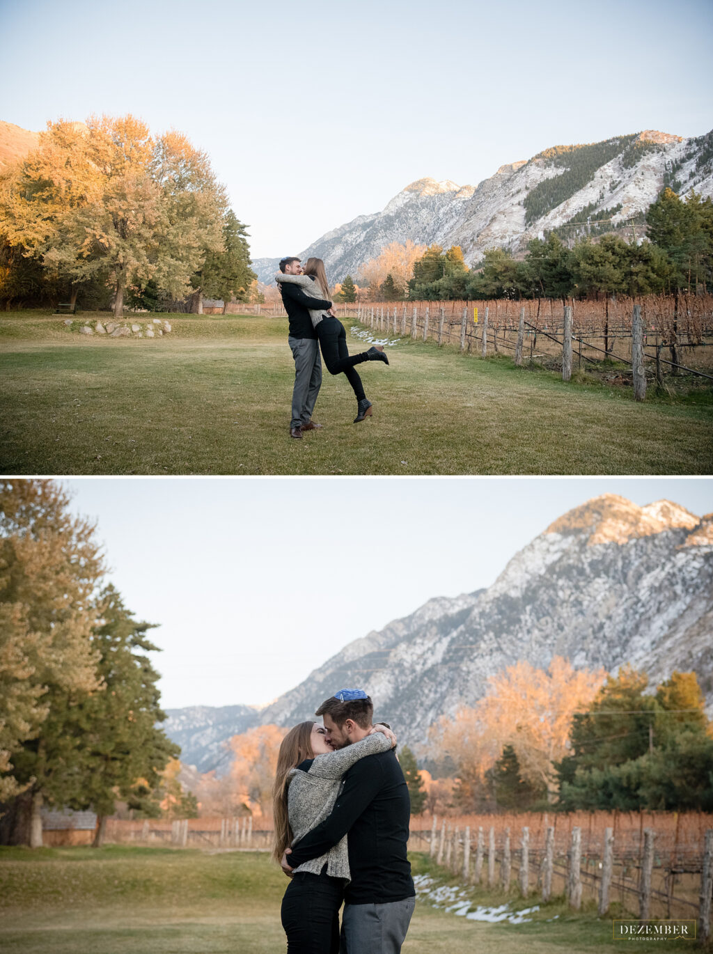 Engagement session at La Caille with mountain background