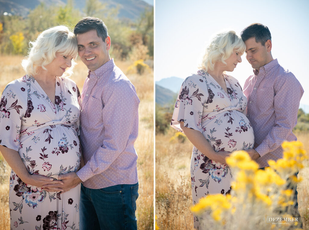 Couple maternity session in a field with yellow flowers