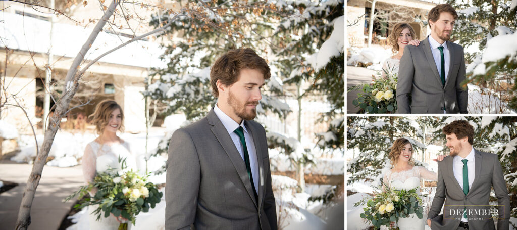 Montage Winter Wedding first look