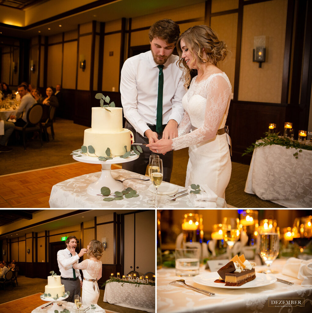 Montage Winter Wedding couple cutting the red velvet cake