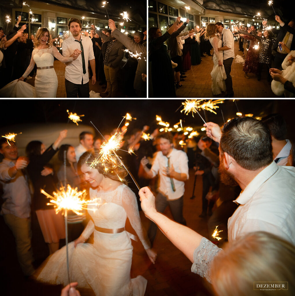 Montage Winter Wedding sparkler send-off