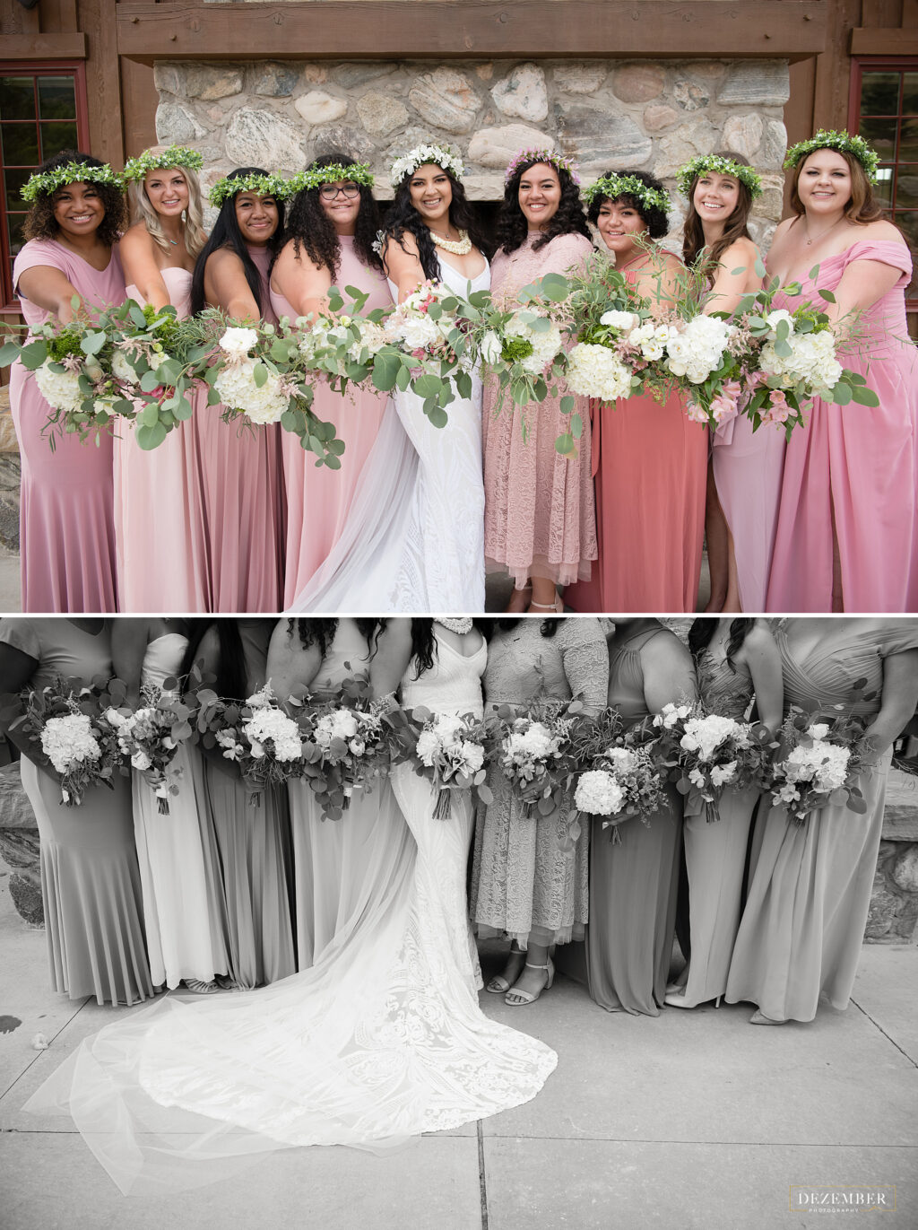 Bridemaids hold out bouquets