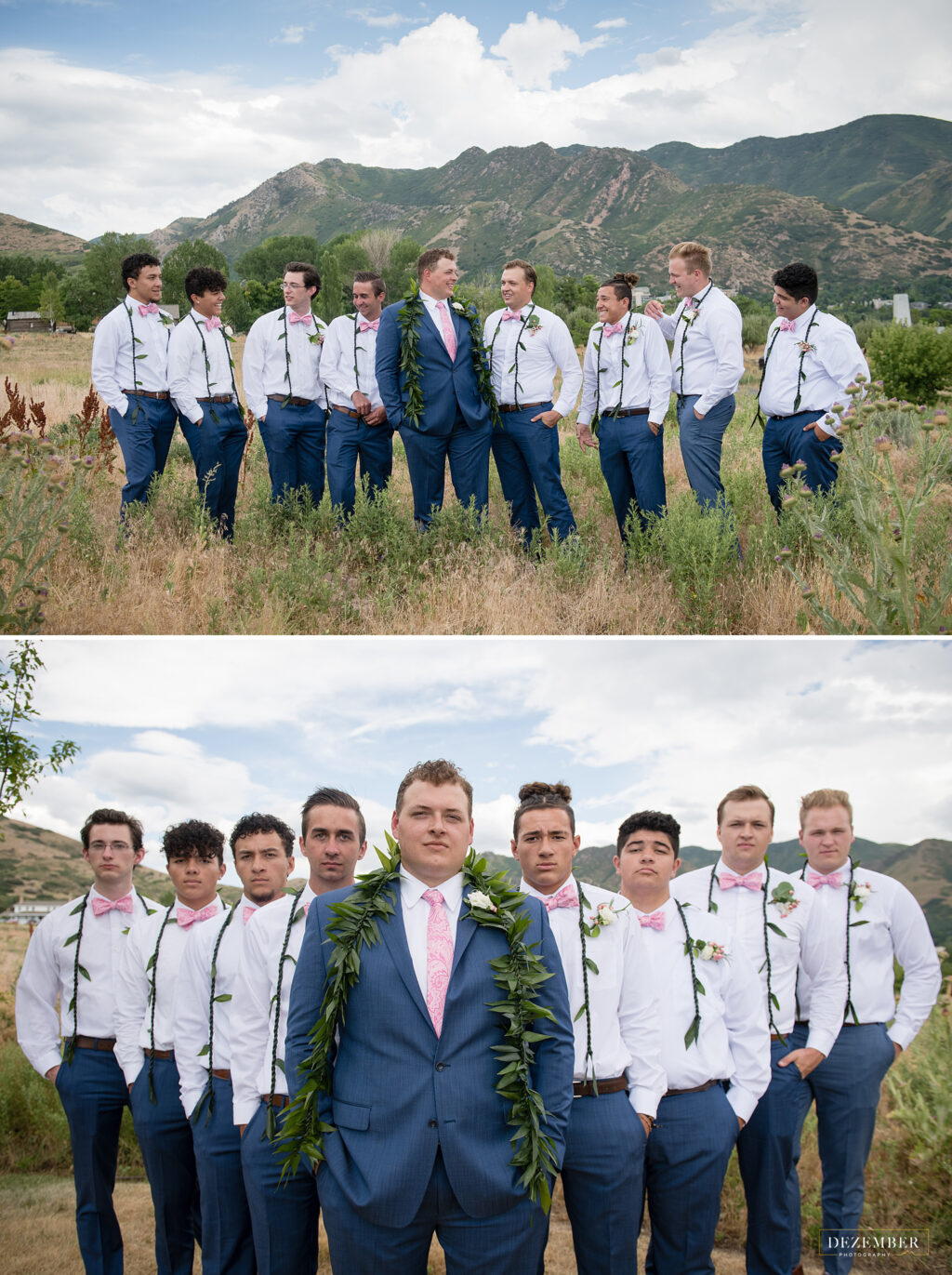 The groomsmen stand behind the groom