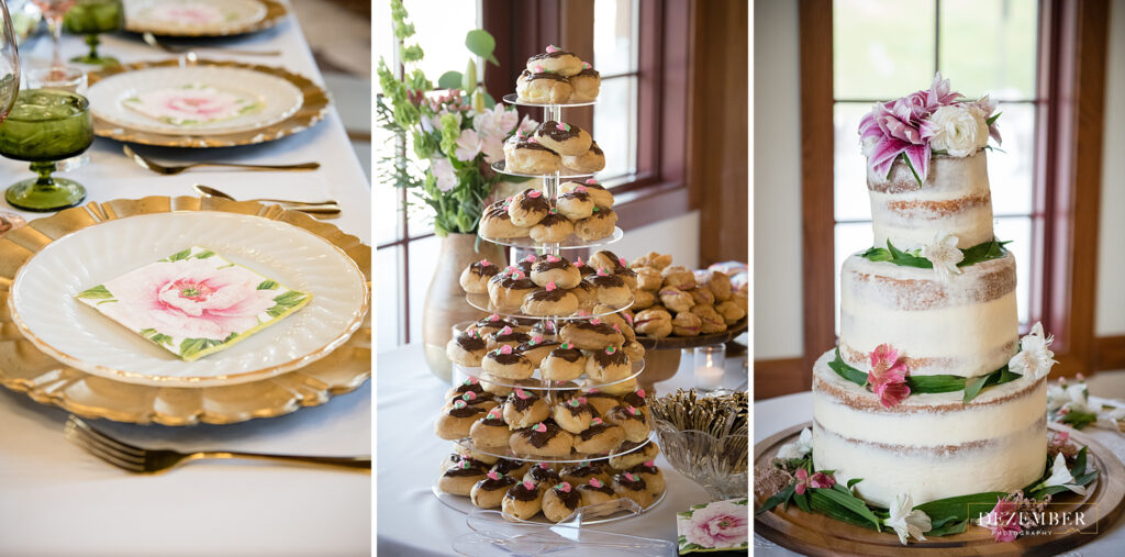 Wedding cake, treats and table setting