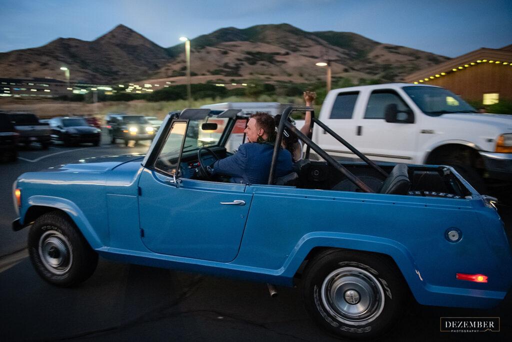 Blue classic getaway car