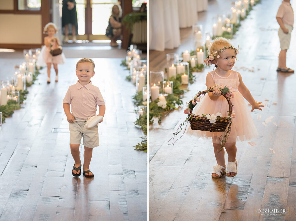 Yung ring bearer and flower girl walk down the aisle