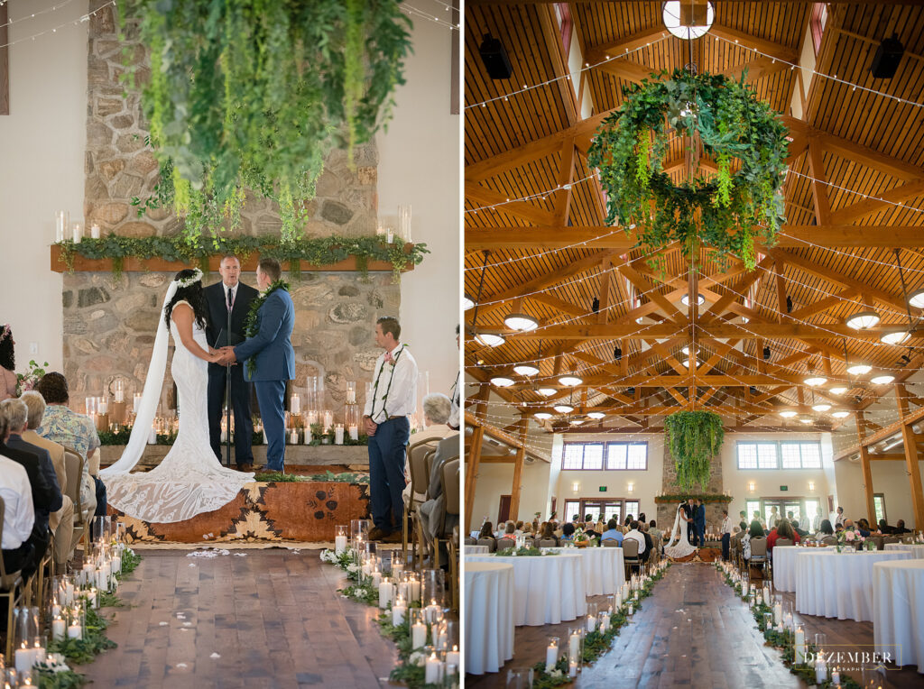 Wide shots of ceremony with greenery at This Is The Place
