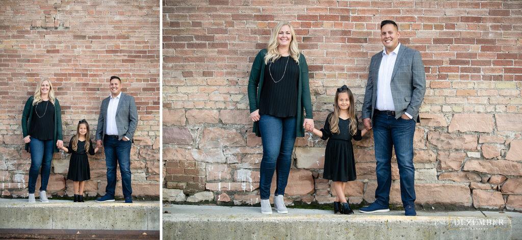 Family portraits brick wall