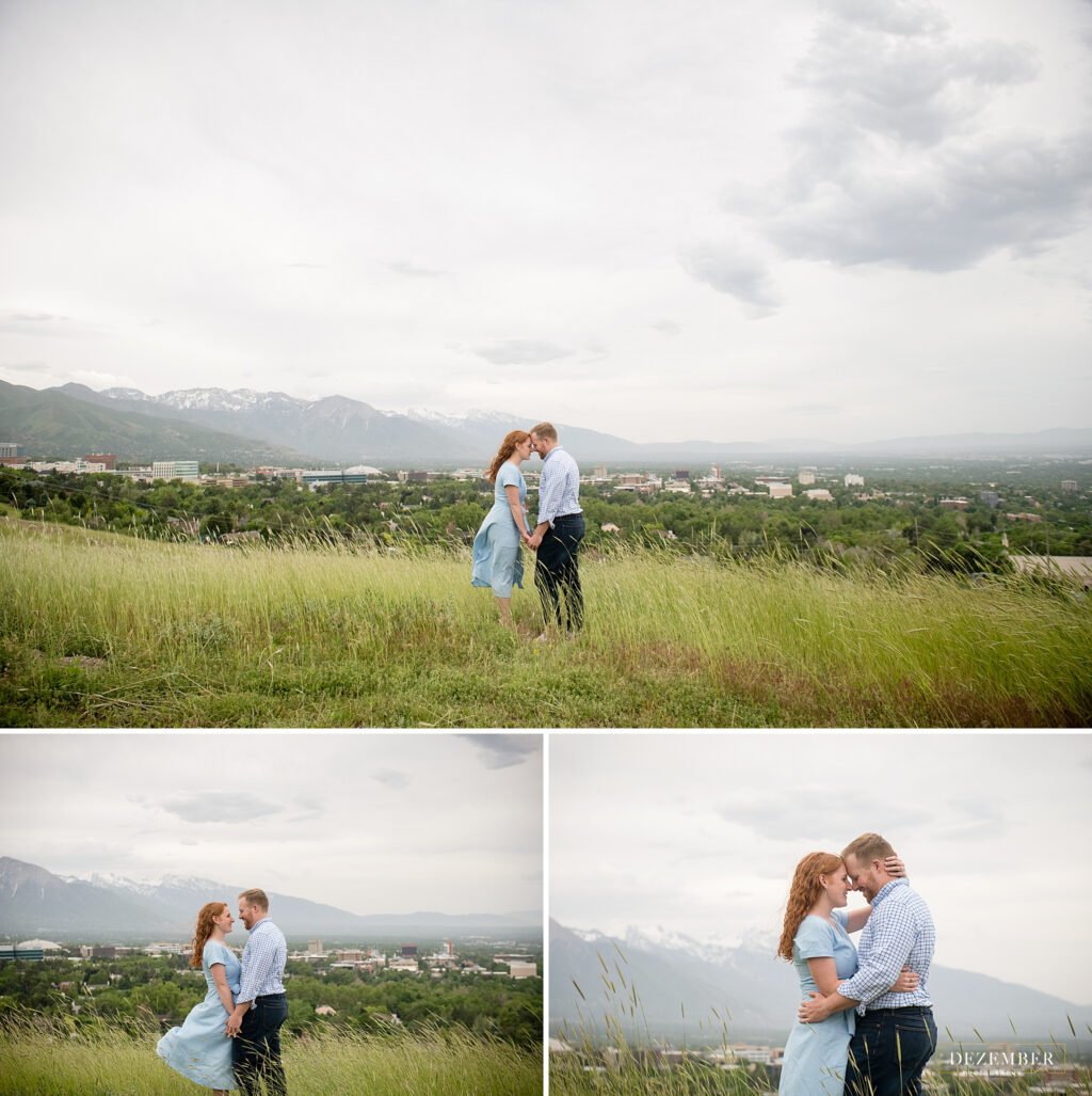 Couple in field overlooking Salt Lake City