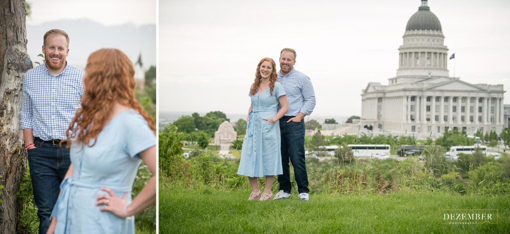 Couple poses for Utah Capitol engagements
