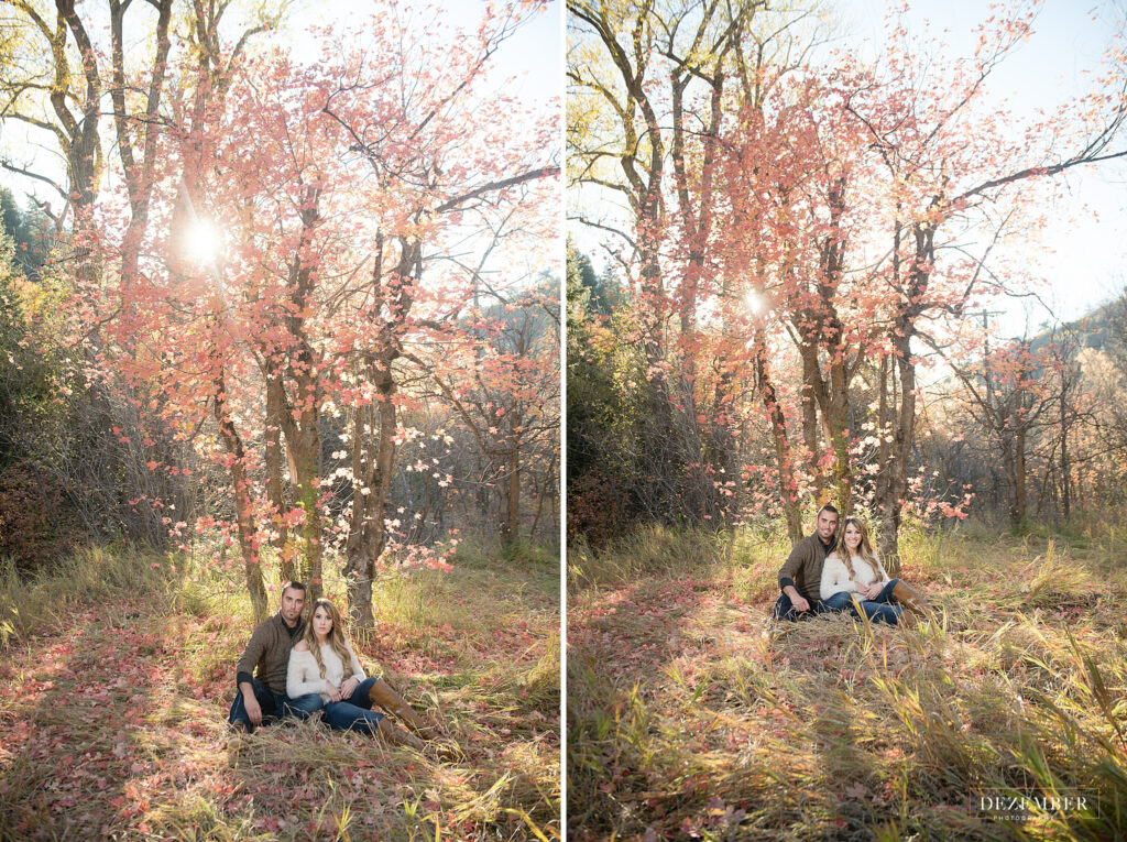 Couple sits beneath tree with red fall colors