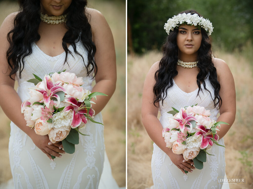 Bride holds bouquet of lilies and roses