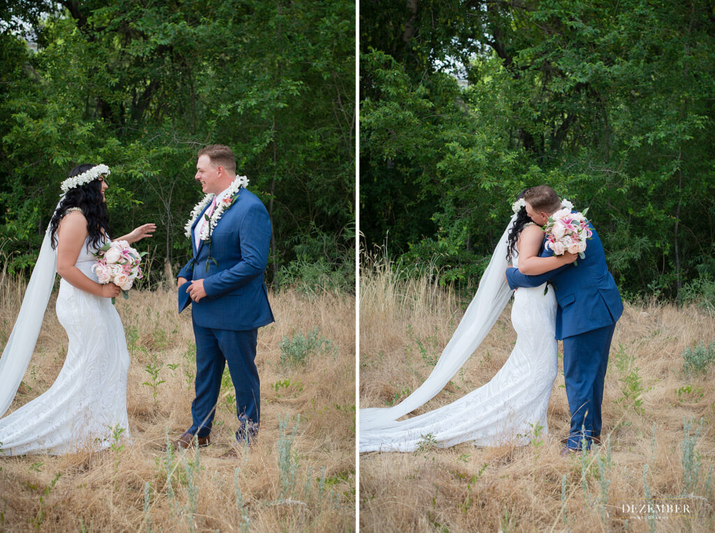 Couple does first look in field