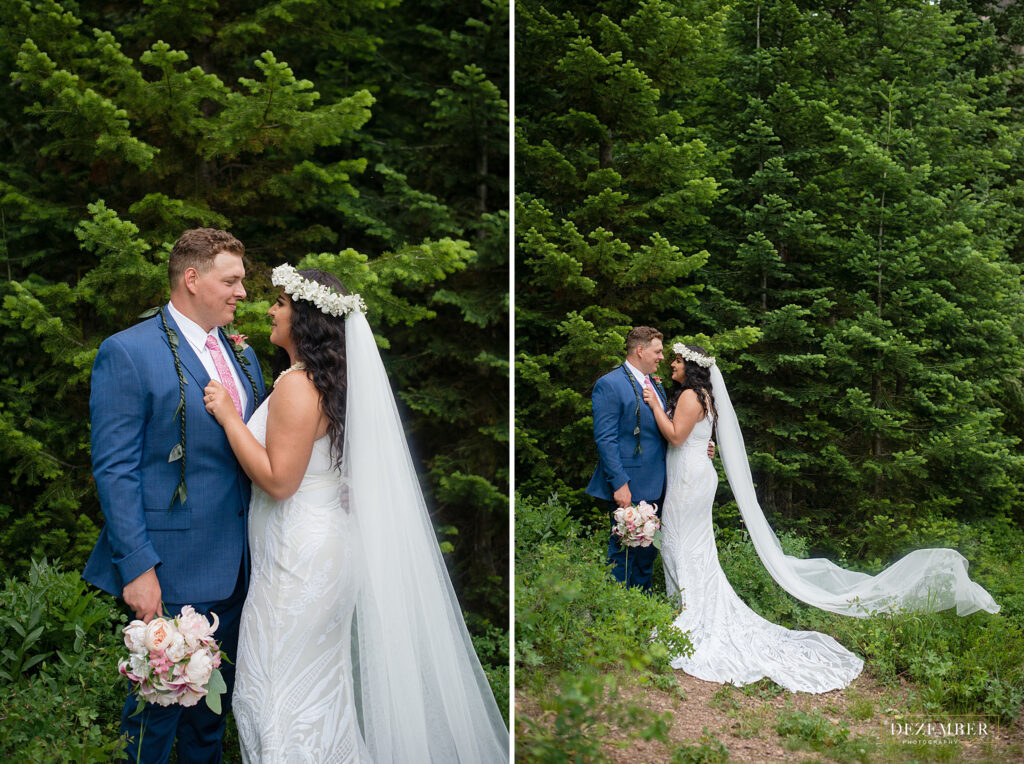Couple poses in big evergreen trees