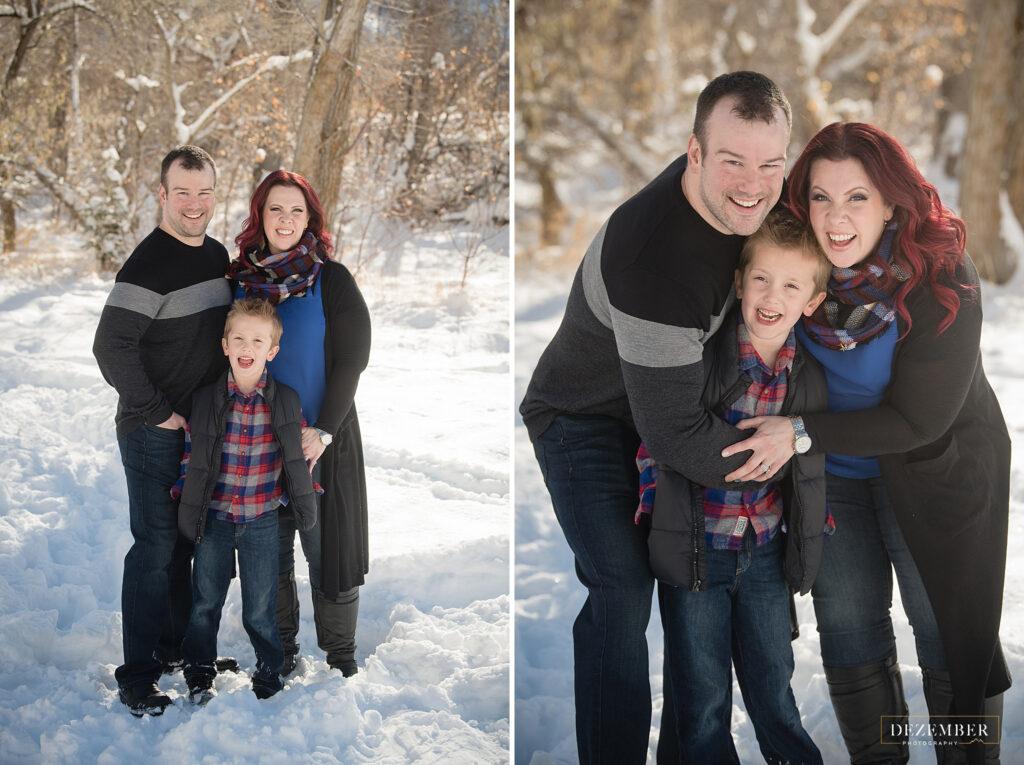 Snowy family portraits utah