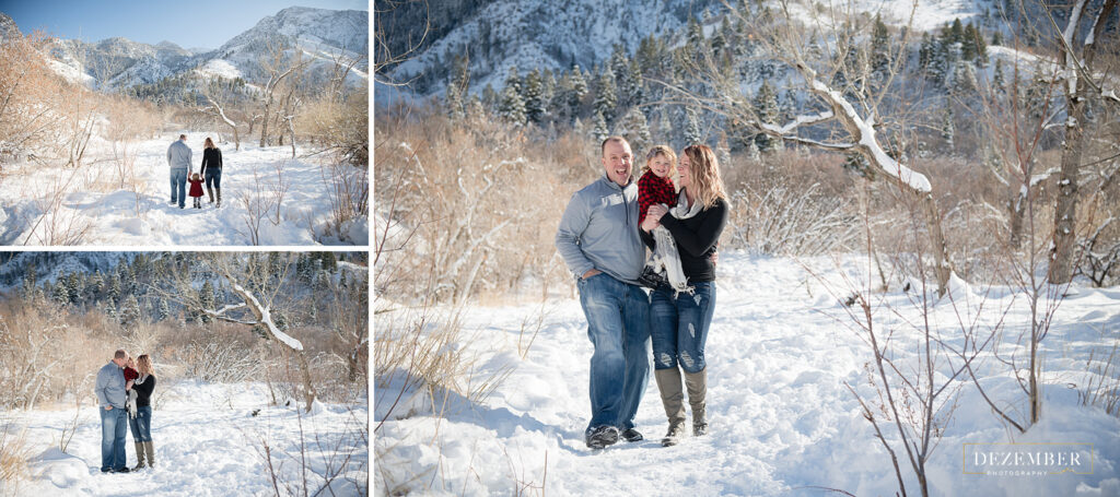 Couple holds their daughter for family portraits