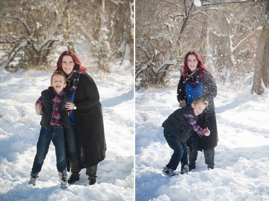 Family photography boy and his mom play in the snow