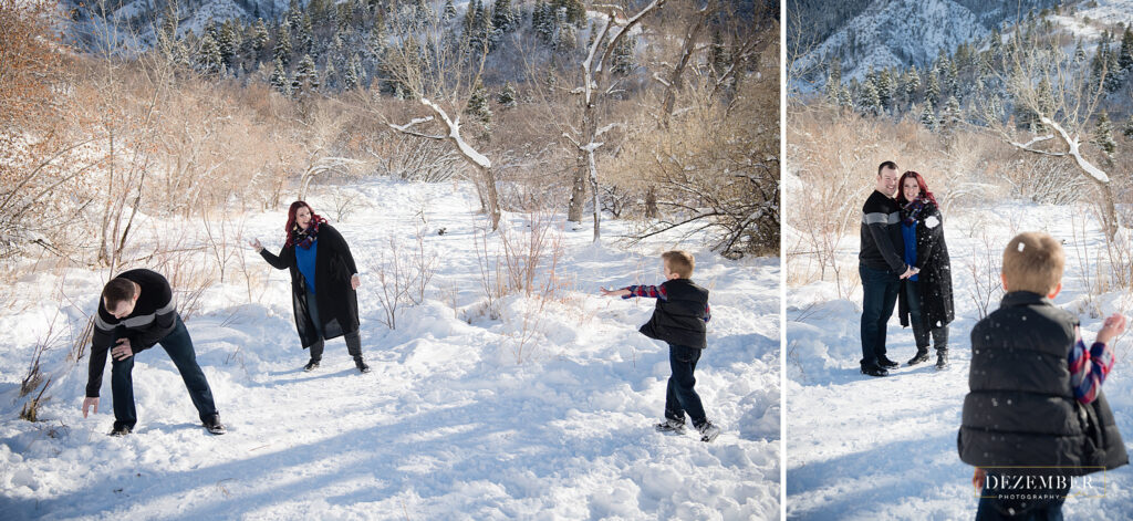 Dezember photography family snowball fight