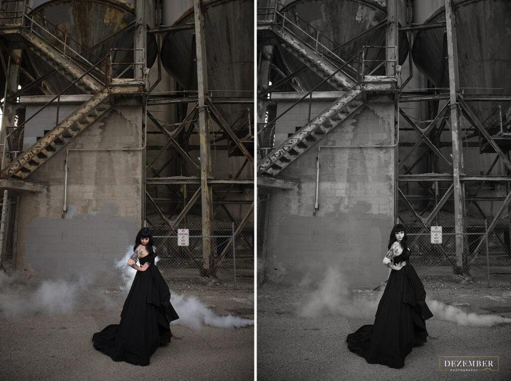 Bride in black dress in industrial scene