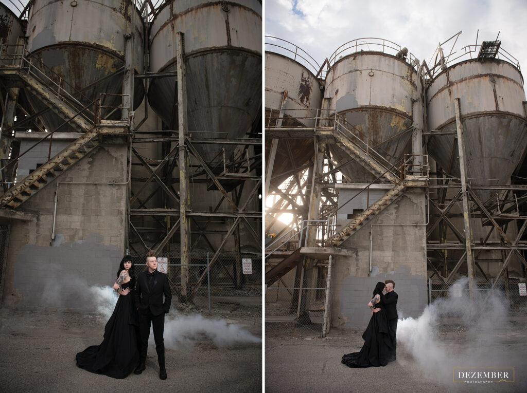 Industrial goth bridal shoot