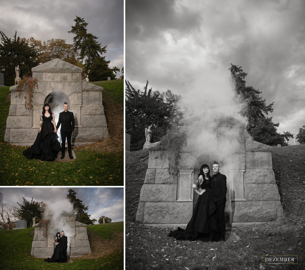 Goth couple in front of mausoleum
