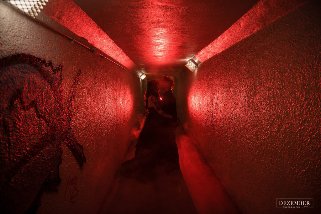 Bridals in tunnel with red light