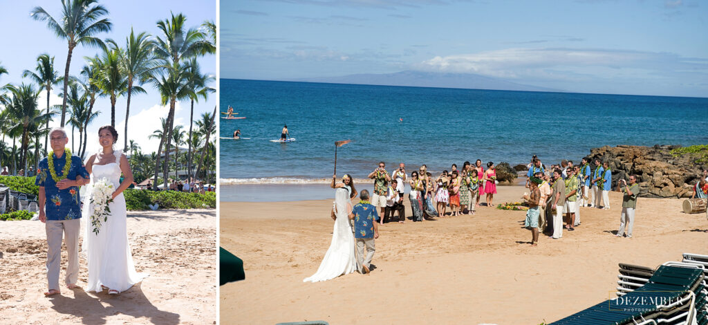 Here comes the bride on the beach