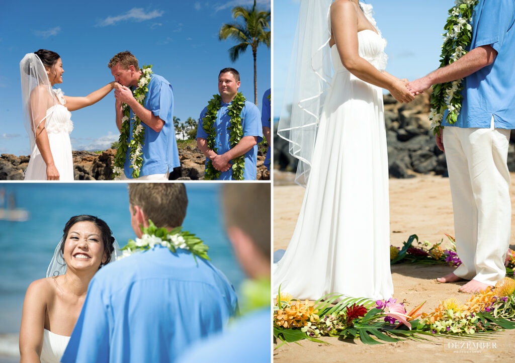 Bride and groom stand in flower ring on the beach