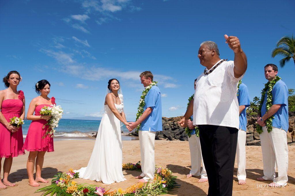 Excited bride on the beach in Maui