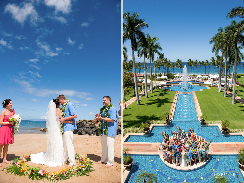 Maui Wedding couple kisses on the beach, family photo on the right by the pool