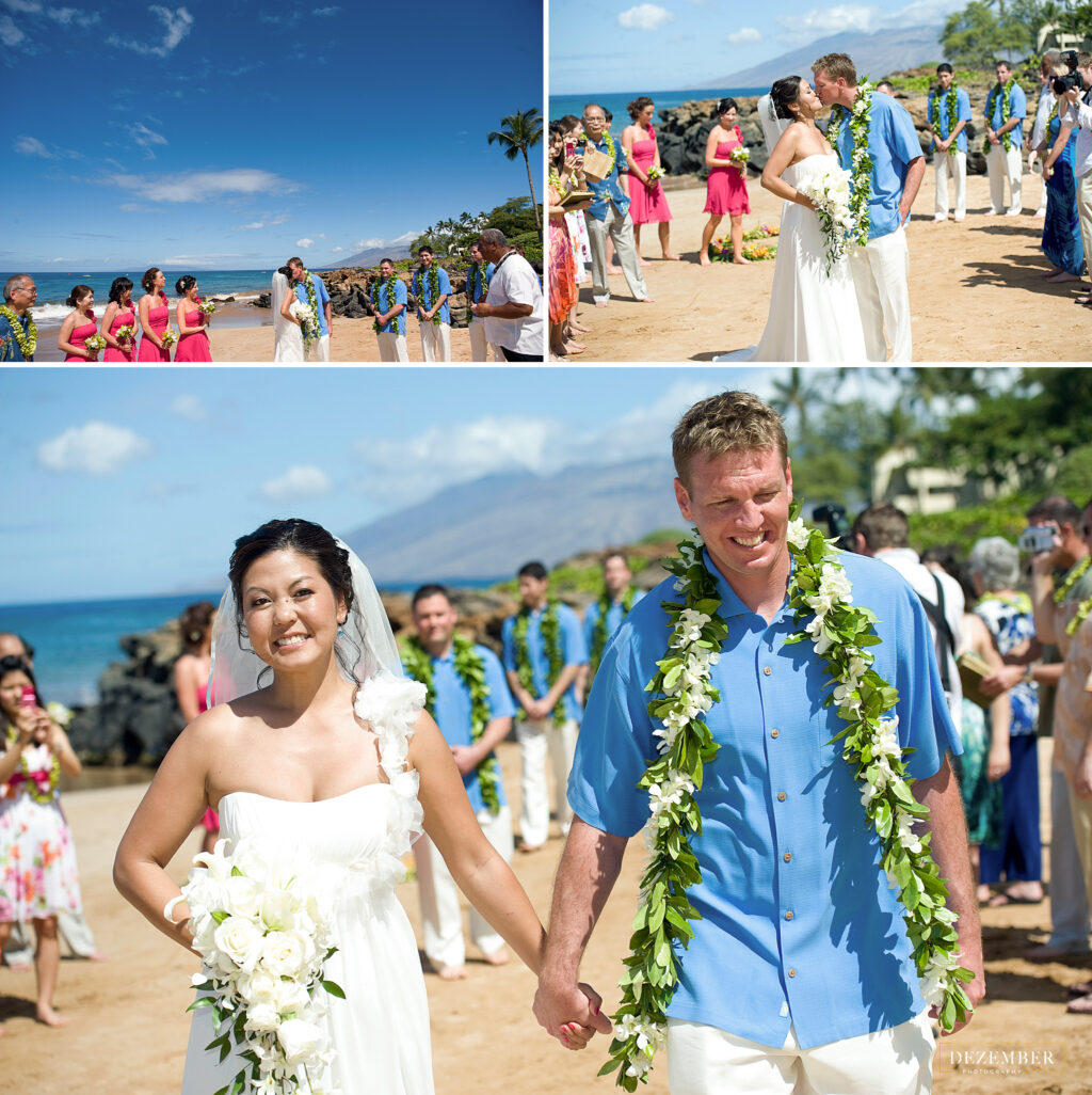 Bride and groom Maui beach ceremony