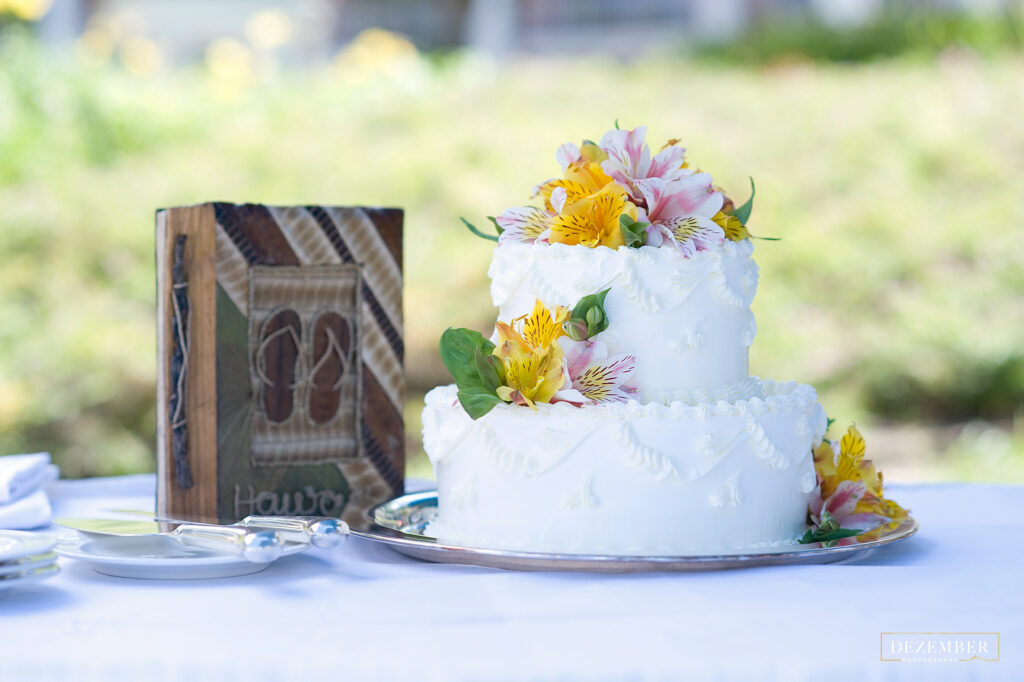 Wedding cake with tropical flowers