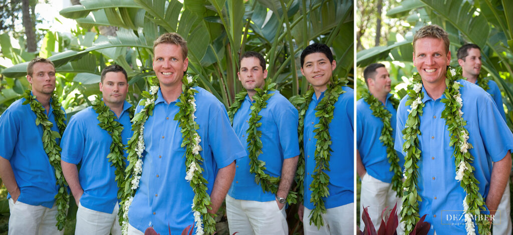 Groomsmen in front of tropical palm