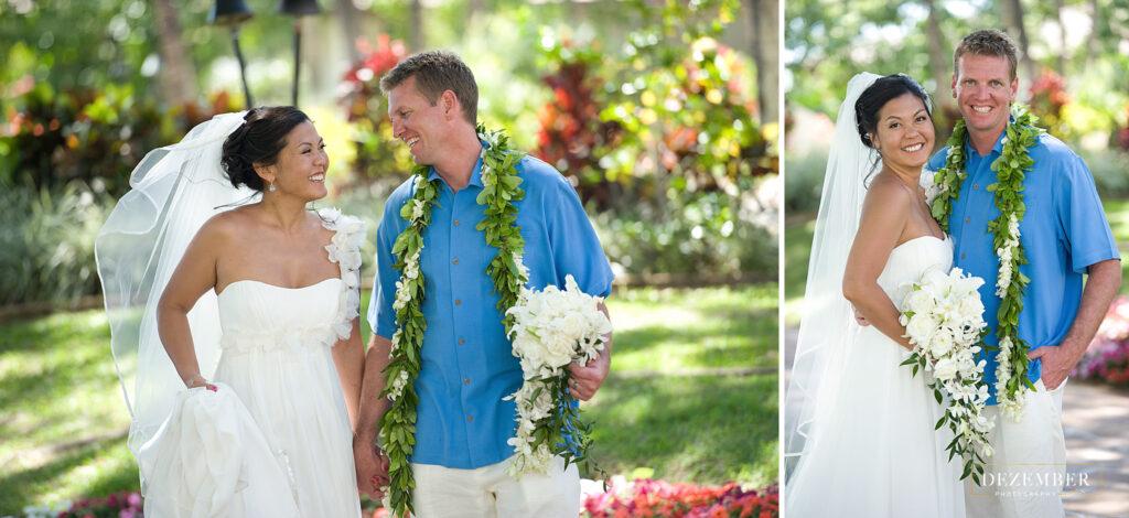 Couple poses in tropical garden