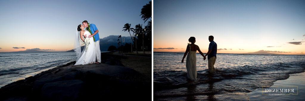 Bride and groom at sunset on Maui beach