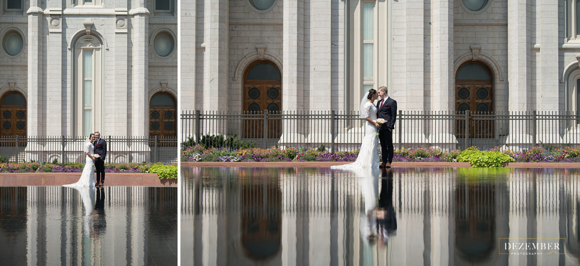 Newlyweds across the pond in front of the Salt Lake Temple