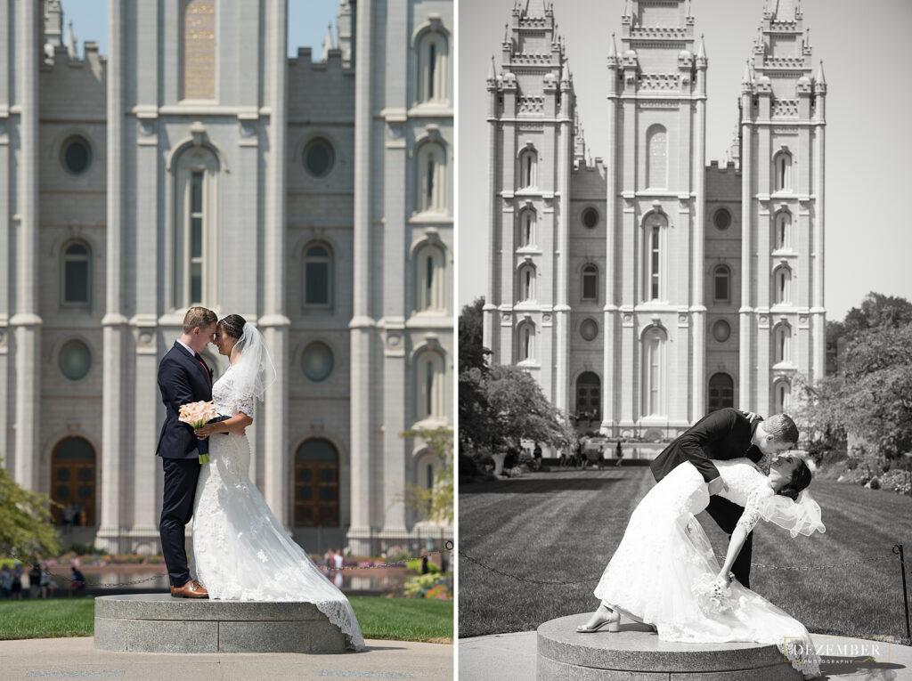 Bride and groom kiss at Salt Lake Temple