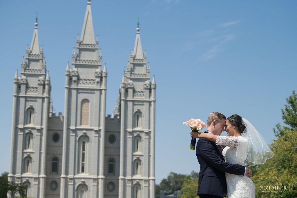 Newlyweds outside Salt Lake Temple